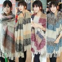 Mohair Warm Lady Contrast Split Carpet Long Shawl Wrap Tassel Colorful Winter Scarf Scarves Women#65923