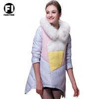 Fancyinn Brand New Winter Zippers Raccoon Fur Neck Patchwork Jacket Coat WarmThick Down Jacket