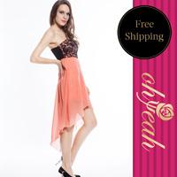 R77614  Novelty free shipping dress women strapless 2014 women dresses women casual dress knee-length summer dress