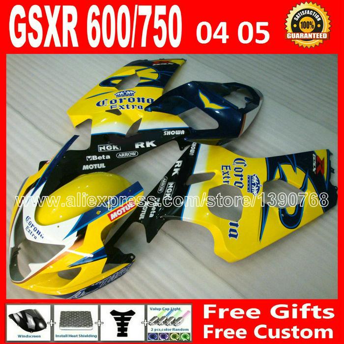 Brand new for 2004 2005 ABS SUZUKI black yellow GSXR 600 750 fairing K4 RIZLA version gsxr600 DCH GSX R750 04 05 bodywork 793(China (Mainland))
