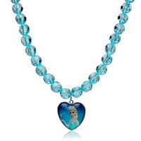 Christmas Gift Kids Frozen Necklace Fashion Crystal Beads Handmade Heart Princess Pendant Necklace Free Shipping FR007