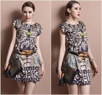 new arrival elegant luxury lepoard printing women short sleeve dress ,summer brand new designer dresses 26F63