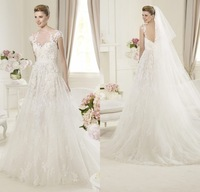 Princess A Line Style Sheer Cap Sleeves Ivory Lace Bridal Dress Formal 2014 Fall Open Back Sexy Wedding Dress