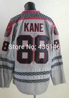 Free shipping Hockey jerseys 2014 mens #88 Patrick Kane Gray Authentic Ice Hockey Jersey size: 48-56 can mix order
