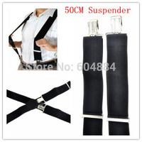 Brand New 1Pcs Elastic Black 50mm Wide Mens Gentles Braces Plain Heavy Duty Durable Suspender Free Shipping