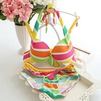 Candy-colored rainbow striped halter swimsuit style girls underwear gather push up bra set