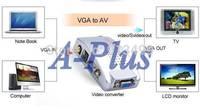 3pcs/lot High Quality AV S-Video RCA Composite Video to PC Laptop VGA TV Converter adapter box SV007389