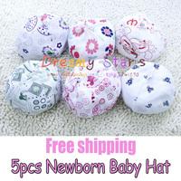 Free shipping 5 piece 100% Cotton 0-3 Months Newborn Baby Hat baby Cap beanies Baby Unisex kids kid child winter Caps