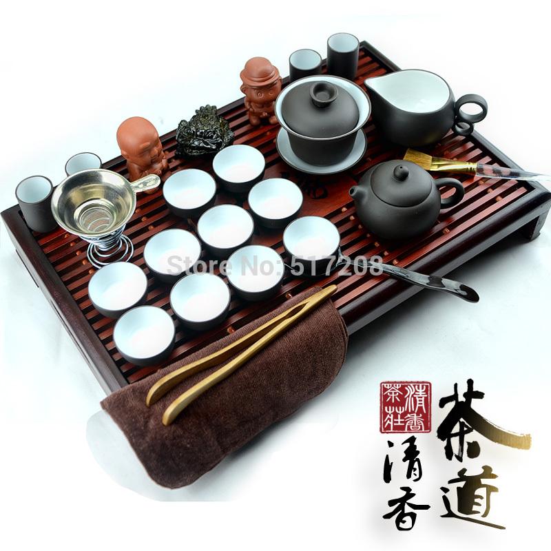 tea set purple kung fu tea set with solid wood tea tray tea cups yixing zisha