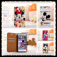 "5pcs for iphone 6 4.7"" plus 5.5"" Novelty Cute Cartoon Mickey Mouse Minnie Luxury Flip Leather Wallet Card Pouch Cover Case"