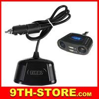 70074 4-way/port Van Car Cigarette Lighter Extension Socket Splitter Lighter Power Adapter USB2.0 Charger 12-24V 150W