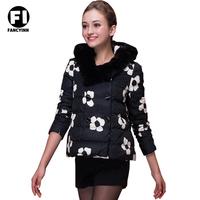 Fancyinn Brand New Winter Women Warm Cotton Sports Zippers Raccoon Fur Hat Jacket Coat Ramps Flower Print Down Jacket