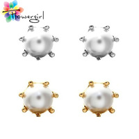 New Fashion Paragraph Hot Selling Earrings 2014 Double Side Shining Pearl Stud Earrings Big Pearl Earrings For Women [5107]