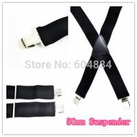 Wholesale New 10Pcs Plain Heavy Duty Durable Suspenders 50mm Wide Mens Gentles Braces Elastic Black Free Shipping