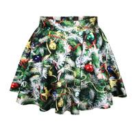 East Knitting R53 Brand 2014 Autumn Casual Skirts Female Pleated Skirts Christmas Trees Print Short Skirt Saia Drop Shipping