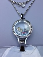 2014 Newest Stainless Steel Lanyard Locket with CZ Stones LB-047