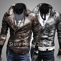Free shipping  new man fur clothing fashionable skin water big turndown brief paragraph fur men pu leather jacke