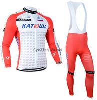 Free shipping! Katusha Russian 2014 long sleeve autumn bib cycling wear clothes bicycle cycling jersey bib pants set+gel pad
