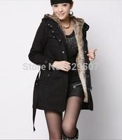 2014 autumn winter women's Wool lined windbreaker jacket outerwear medium-long slim wadded jacket overcoat