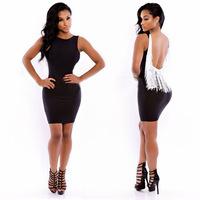 New Fashion 2014 Women Sexy Black Sleeveless Tassel Slim Bodycon Mini Dress Party Bandage Backless Evening Dresses NTDR-863