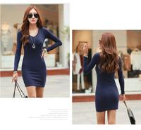 Free Shipping 2014 New Autumn and Winter Long-sleeve Dress Women's Slim Hip  Elegant One-piece OL Dress BigPlus Size