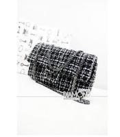2014 new woolen cloth shoulder Bag Plaid classic stripe black and white handbag messenger bag