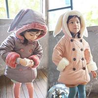 2014 winter rabbit ears female child baby plus velvet thickening cotton-padded jacket wt-3319 cotton-padded coat