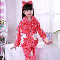 2014 Promotion Pyjamas Kids Frozen Pyjamas Autumn And Winter Children Flannel Pajamas Firls Rabbit Home Furnishing Mink Clothing