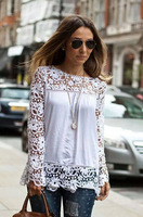 2015 New Women White Crochet Lace Shirt Female Floral Lace Long Sleeve Chiffon Blouse Lace Blusas Plus Size Clothing S-5XL J2266