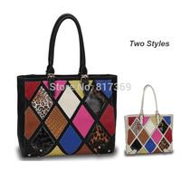 Women Fashion Colorful Patchwork Shoulder Bag Leopard and Alligator Plaid Designer Ladies PU Leather Tote Handbag WE019C