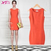 2014 Women  Winter Render Slim soild color Fashion Elegant Woolen A-Line Vest Dress women mini dress