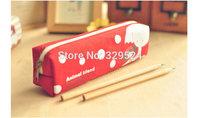1pcs Children's Vintage Canvas Zipper Pencil Bag - Red Elephant