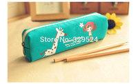 1pcs Kids Vintage Canvas Zipper Pencil Case - Blue Giraffe