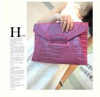 2014 New Fashion Famous Brand Designer Handbags Women PU Leather Antigona Envelope Bags Crocodile Pattern Clutches Evening Bags