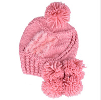 Winter Cotton Knitted Warm Hat fashion with Rabbit Hair Bubble Ball Pompom Hat for Women and Men Free Shipping