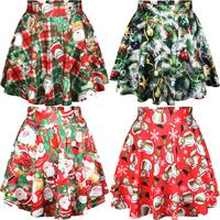 East Knitting 2014 Autumn Winter Girl Skirts Christmas Women Clothing Saias Skirt Snowmen Print Short Skirts Free Shipping