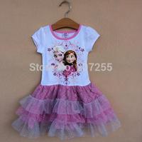 New designs Free shipping children GIRS Frozen anna elsa WHITE short sleeves TUTU dress summer  PURPLE high quality 6pcs/lot