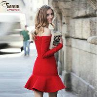 2015  Dresses New Fashion Sexy Slash Neck Strapless Dress Off Shoulder Elegant  Vintage Women Bodycon Dress A185-90