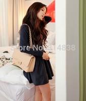 2014 new winter knit dress temperament Slim waist pleated skirt bottoming 8219