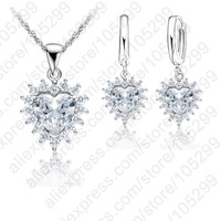 Princess Engagment Bridal Jewelry Sets 925 Sterling Silver A+++ Cubic Zirconia Pendant Necklace Earrings Woman Accessioes Gifts