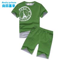 Th children's clothing boy summer set child color block short-sleeve shorts casual set