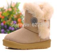 2014 Fashion Warm Shoes Children's Boots Winter Boy Girls Warm Winter Flat Snow Boots Rosered Pink Brown Beige