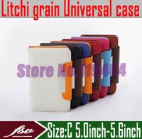 [ 10pcs/lot ] [ Litchi grain ] 5.0''inch - 5.6''inch wallet flip cover case for iocean x7 HTC J butterfly X920D phone sets
