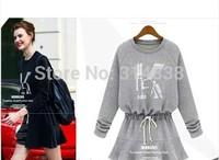2014 new winter fashion loose big yards plus fertilizer temperament printing waist dress 1281