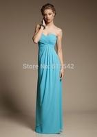 Simple Cheap Sweetheart Neck Sleeveless Ruched Bust Sheath Column Floor Length Chiffon Bridesmaid Dresses