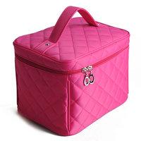 Cosmetic box women's handbag bags plaid professional cosmetic bag box big capacity storage handbag K4