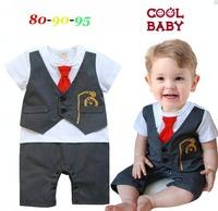 2014 New Summer Baby Rompers Tie Vest Patchwork Fashion Gentlemen Baby Boy Romper Short Sleeve Newborn Overalls 3 pcs / lot 1300