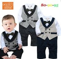 2014 New Autumn Cotton Fashion Bow Tie Gentlemen Baby Boy Romper Baby Rompers Long Sleeve Newborn Overalls 3 pcs / lot 1301
