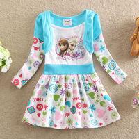 Kids Baby Girls Frozen Elsa Anna Long Slevee False Two Pieces Dress 100% Cotton