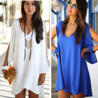 2015 New Summer European American style Fashion Women Plus Size Casual Shirt  Loose V-neck Chiffon Blouse dress S-XL J2268